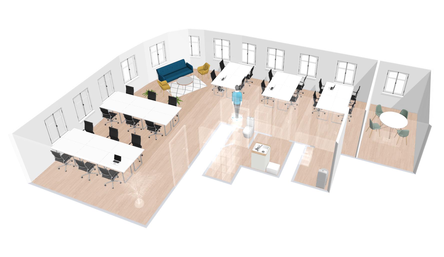 Plan d'aménagement des bureaux dans le Sentier - Paris - SnapDesk